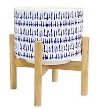 "Ceramic Plant Pot Wood Stand - 7.3"" Modern Round Decorative Flower Pot I... - $29.38"