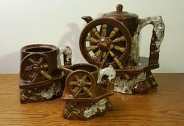 Vintage Ceramic Seamstress Sewing Wheel Pitcher, Cream & Sugar Set - $16.58