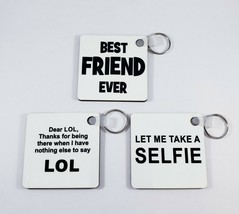 Set of 3 Black & White Square Key Chains Rings Best Friend LOL Selfie 2.... - $7.79