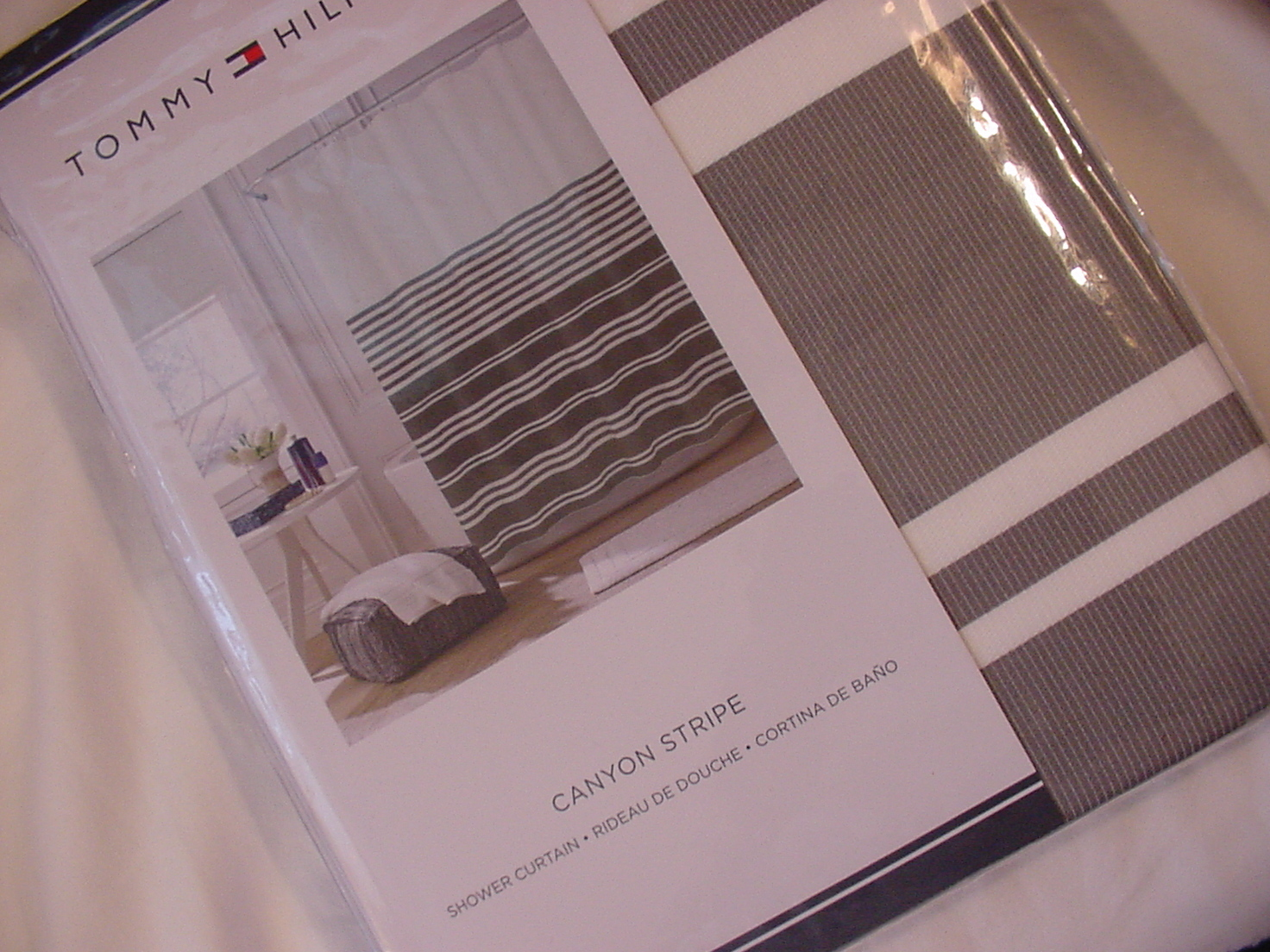 Tommy Hilfiger Canyon Stripe Gray White Shower Curtain