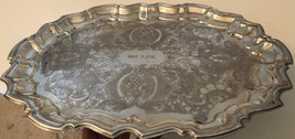 """English Silver Plate MFG Corp Vintage Footed Dish Platter Tray 14.5"""" USA - $34.64"""