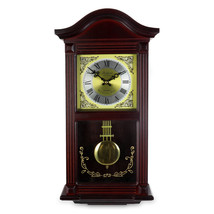 Bedford Clock Collection 22 Inch Wall Clock in Mahogany Cherry Oak Wood with Bra - $108.42