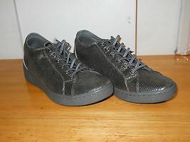 DKNY New Womens Ivy Gunmetal Lizard Foil Sneakers 10 M Shoes NWB  - $68.31