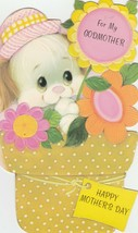 Vintage Mother's Day Card Puppy Dog in Flower Pot Godmother American Gre... - $6.92