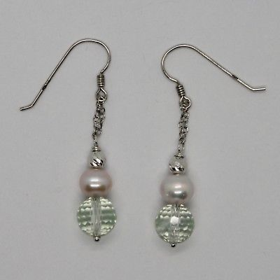 EARRINGS SILVER 925 RHODIUM HANGING WITH PRASIOLITE FACETED AND PEARLS