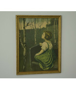 Spring Song by Simon Glucklich Blind Girl in Original Frame Under Glass - $349.95