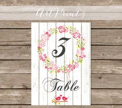 Rustic Wedding Table Numbers, Printable Wedding Table Number, Printable ... - $9.00