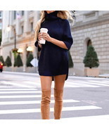 Laamei Turtleneck Solid Women Sweater Dress Slim Fit Long Autumn Female ... - $422,83 MXN