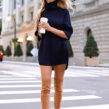 Laamei Turtleneck Solid Women Sweater Dress Slim Fit Long Autumn Female ... - €19,32 EUR