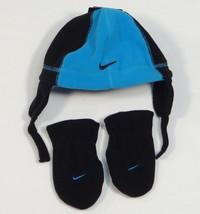 Nike Blue & Black Fleece Winter Hat & Mittens Toddler 2-4T Toddler 2T - ... - $22.27