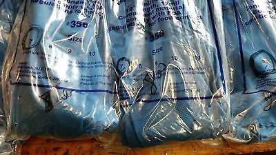 "8 dozen ANSELL 356 latex rubber gloves 17 mil 12"" blue size 10,8,7"