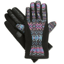 ISOTONER Black Geometric Matrix Fleece Nylon smarTouch THERMAflex Gloves... - $24.99