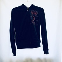 Juicy Couture Track Velour Crystal Jacket Women Ex Large Blue Red Rhines... - $35.25