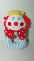 EDEN plush clown rattle vintage blue white striped red hair bow yellow hat - $19.79