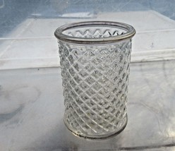 avon glass multipurpose pencil pen toothbrush holder pebbled clear glass... - $9.37