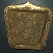 Vintage Israel Bronze Hammered Ashtray Rose Decoration 1960's