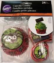Spider Halloween Combo Pack 24 Baking Cups Cupcake Liners Picks Wilton - $3.13