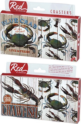 Crabs and Crawfish All You Can Eat 4 Piece Absorbent Ceramic Coaster Set