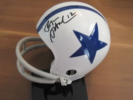 ROGER STAUBACH TOO TALL JONES COWBOYS HOF SIGNED AUTO RIDDELL MINI HELME... - $217.79