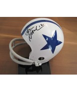 ROGER STAUBACH ED TOO TALL JONES SIGNED AUTO THROWBACK RIDDELL MINI HELM... - $217.79