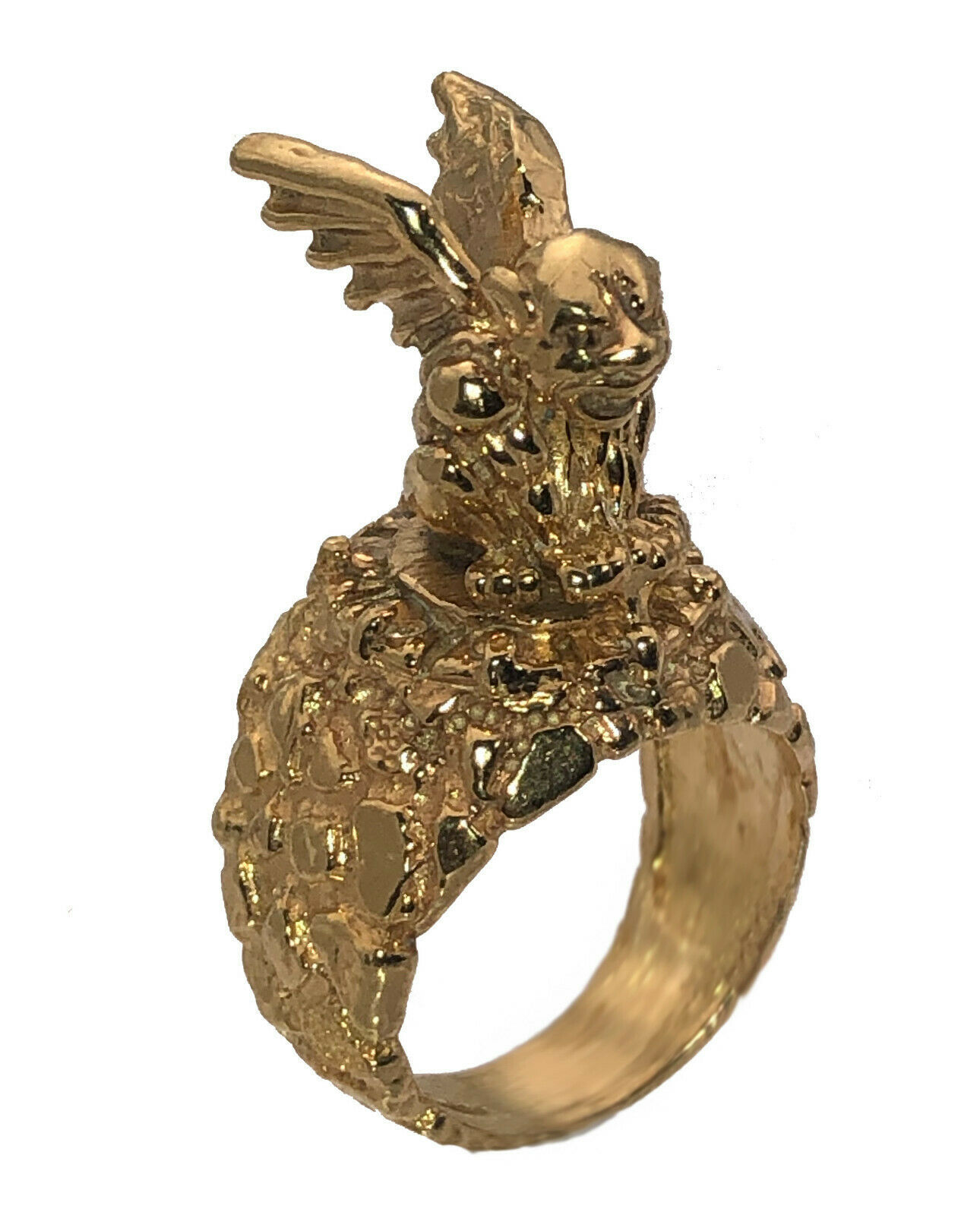 Gargoyle Ring 24K Gold Plated protect against evil force spirits Jinn Jewelry