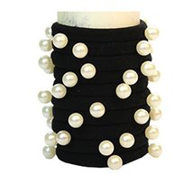 Set of 10 Fashion Durable Beads Seamless Ponytail Holders, Black