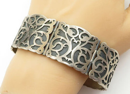 MEXICO 925 Silver - Vintage Oxidized Baroque Swirl Chain Bracelet - B6344 - $318.37