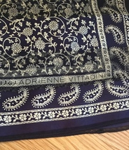Vintage Adrienne Vittadini square silk scarf (Navy floral and paisley) image 3