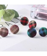 Earring Stud For Women Girl Autumn Winter Cute Retro Chic Round Button P... - $5.11