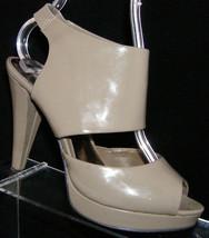 Steve Madden 'Sass' taupe man made open toe elastic platform heel 7 - $26.51
