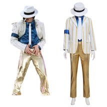 Micheael Jackson Performance Cosplay Costume Adult Men Halloween Suit Custom - $120.00