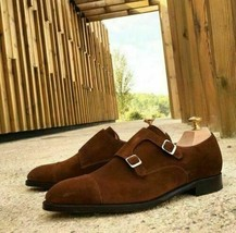 Handmade Men's Chocolate Brown Suede Double Monk Strap Dress/Formal Shoes image 4