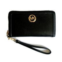 Michael Kors Large Flat Multifunction Phone Case Wristlet ~ Black Leathe... - $74.95