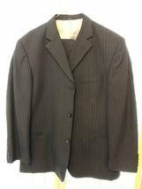 Haggar Enterprise Black Label Pinstripe 2Pc Suit 42R Pleated Pants 34x32 - $44.99