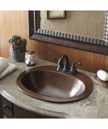 Copper Sink Bathroom Bath Vanity Hammered Finish Oval Bowl Single Drop I... - $159.87