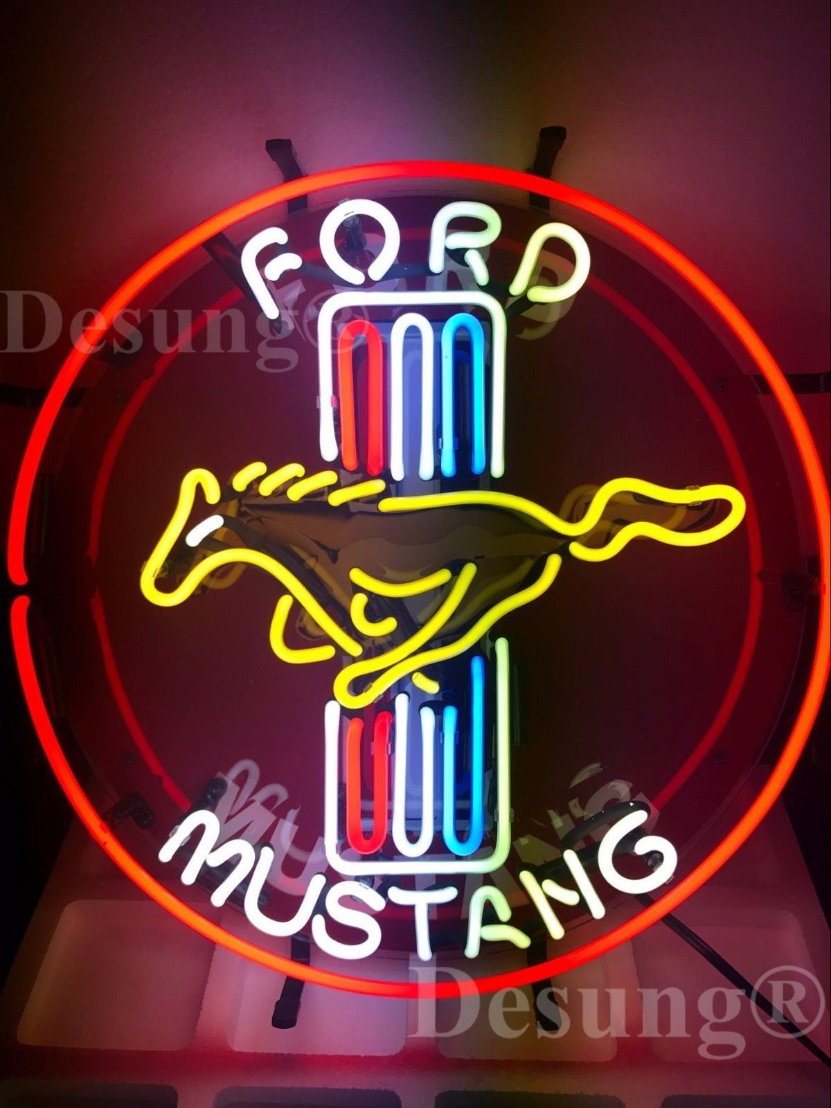 """New Ford Mustang Car Auto Neon Sign 24""""x24"""" with HD Vivid Printing Technology"""