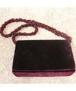 Vintage 80s 90s Vanessa Maroon Velvet Beaded Flap Evening Bag Purse Desi... - $49.49
