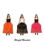 Flared Indian Cotton Long Maxi Skirt Bohemian Comfortable Elastic Waist ... - $4.91+