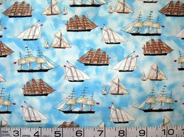 1/2 yard nautical/sailing ships/tall ships on blue quilt fabric