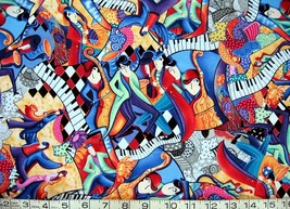 1/2 yd music/bright colorful jazz musicians/keyboards quilt fabric-free shipping