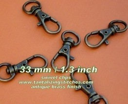 600 Antique Brass 1.3 Inch Extra Large Lobster Swivel Clasps - $121.10