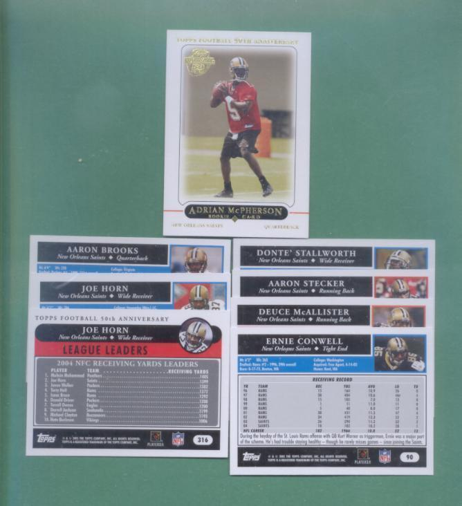 2005 Topps New Orleans Saints Football Set