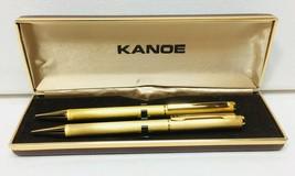 VINTAGE JAPANESE KANOE STRIPED GOLD TONE BALL PEN MECHANICAL PENCIL SET ... - $74.79