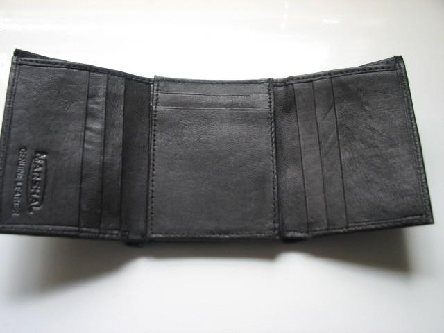Genuine Leather Marshal Men's Trifold Wallet - Black