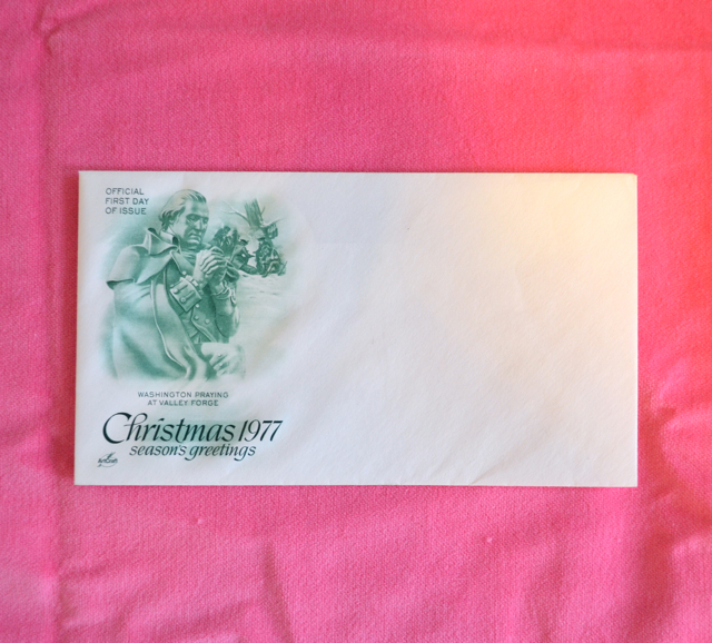 Primary image for Christmas 1977 First Day of Issue Stamp Washinton Praying at Valley Forge