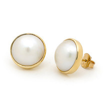 10 MM-11MM Mabe Pearl 14k Gold Earrings Yellow Bezel Set Stud - JewelryNest - $321.75