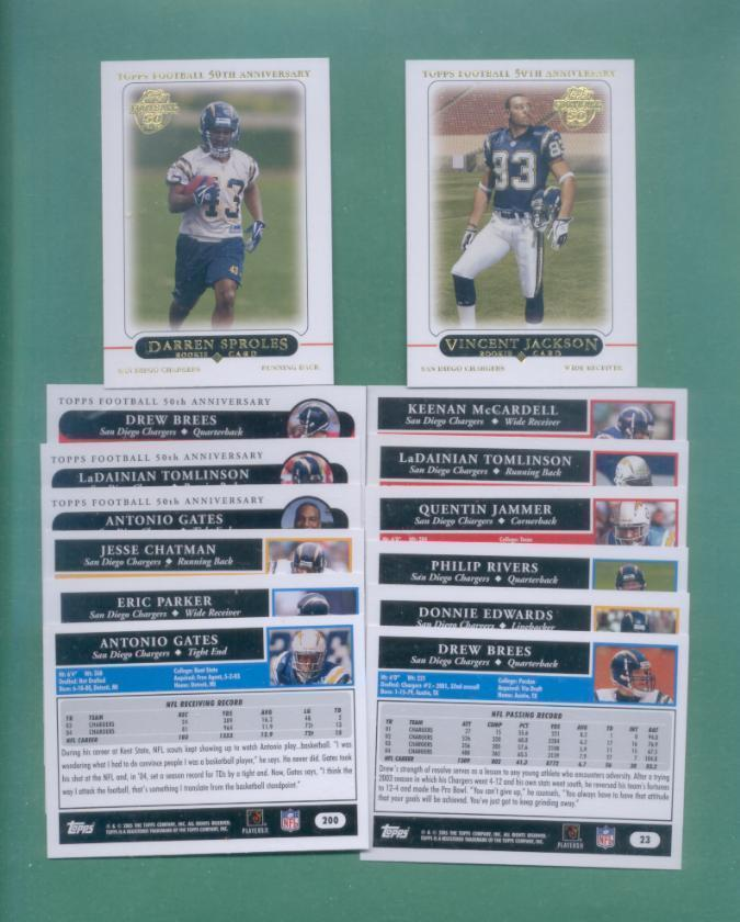 2005 Topps San Diego Chargers Football Team Set