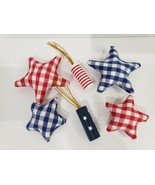 4th of July Patriotic Buffalo Plaid Check Bowl Filler Firecracker Scatte... - $18.99