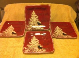 (4)  222 FIFTH--NORTHWOOD COTTAGE---SALAD / SANDWICH PLATES---FREE SHIP-... - $33.99
