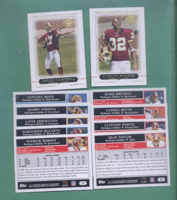2005 Topps Washington Redskins Football Set